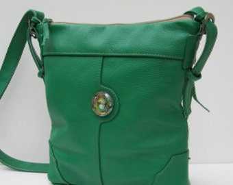 On Sale LEATHER SHOULDER BAG  The Grass  is Always Greener