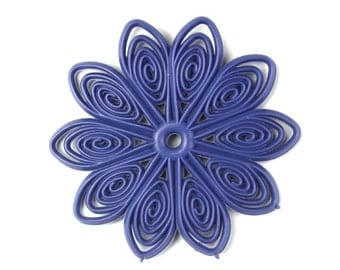 Flexible Plastic Filigree Flowers 45mm Matte Tanzanite (4) PB078