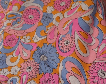 Vintage 1960's Mod Floral Fabric Woven Mid Weight Poly Wool Blend with Flower Print in Semi Neon Pastel Hues