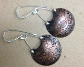 Copper Bubbles: Mixed metal Copper and Sterling Artisan Earrings, 100% Hand Forged by Meshel Designs