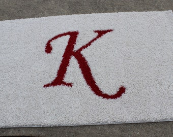 3x5 white frieze rug with initial K inlay Brand New Custom Carpet