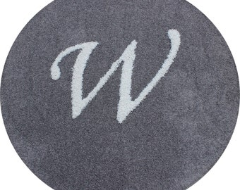 5ft Round Gray Frieze Rug with W initial Inlay in White Custom Brand New
