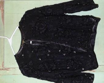 Vintage Silk Glass Beaded Jacket, Pagoda Hong Kong, Evening Jacket, Formal Attire, Black Jacket