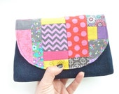 cute clutch. zany colorful patchwork fabric small cosmetic bag. coin pouch small purse organizer. scrap