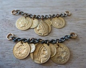 2 Brass Chain Coin Findings C30
