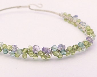 Peridot and Sterling Silver Wire Wrapped Bangle Bracelet