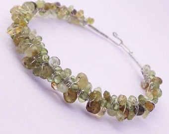 Wire Wrapped Sterling Silver Bangle Bracelet -- Muted Green Gemstones