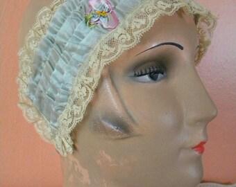 Vintage Flapper Era Boudoir Head Piece Headband Ruffles and Rosettes Ribbonwork