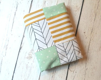 Mint, Mustard Gold & Grey Herringbone Patchwork Baby Blanket-2 sizes available
