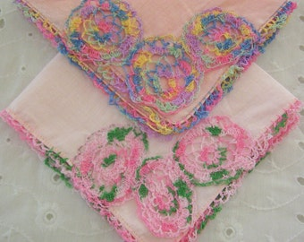 2 vintage crochet lace pink handkerchiefs, tea party, wedding, shabby cottage chic, sweet vintage nostalgia, bridal party favors, pair