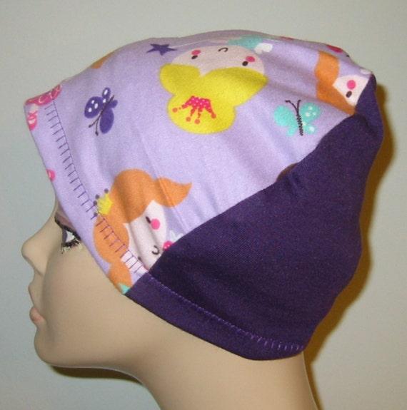 Kid's  Chemo Hat, Purple Princess,  Kid'sCancer Cap, Alopecia, Sleep Cap