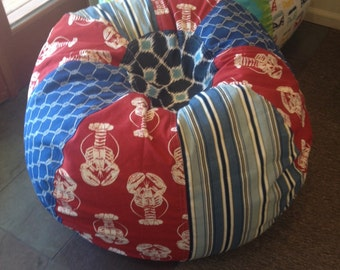 Maine Lobster Nautical Bean Bag Chair With Stripes Rope Print Dots Red White And Blue Unfilled