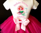 Ariel Princess Little Mermaid Pink 1st First Girl Birthday Tutu Outfit Custom Personalized Name Age Party Shirt Set