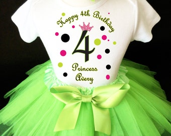 Princess Crown Pink Black Green Polka Dots Dotted 4th Girl Birthday Tutu Outfit Custom Personalized Name Age Party Shirt Set