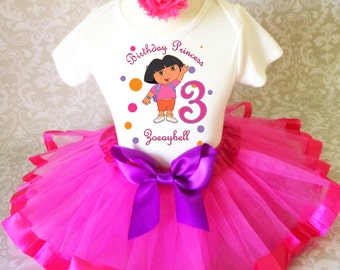 Dora Orange Pink Purple the explorer 3rd Third Girl Birthday Tutu Outfit Custom Personalized Name Age Party Shirt Set