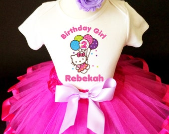Pretty Kitty Balloon Dreams HK Pink Lavender Purple 2nd Second Girl Birthday Tutu Outfit Custom Personalized Name Age Party Shirt Set