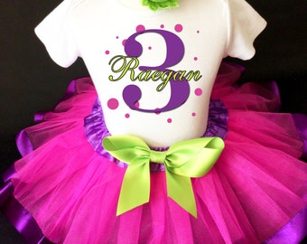 Purple Hot Pink Green Black Polka dots dotted Monogram 3rd Third Girl Birthday Tutu Outfit Custom Personalized Name Age Party Shirt Set
