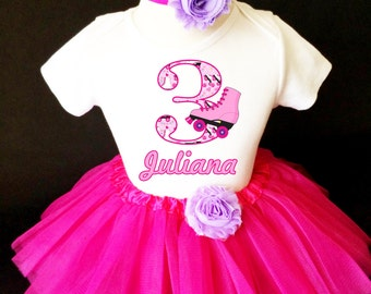 Roller Skate Skating Purple Hot Pink 3rd Third Girl Birthday Tutu Outfit Custom Personalized Name Age Party Shirt Set