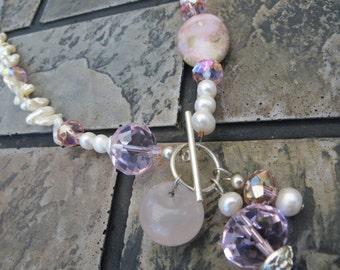 Rosie Peruvian Opal and Rose Quartz Necklace by Tammy Leverich for Gaijin Geisha Jewelry & Kitsch