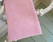 Gingham selvedge pocket square, handkerchief dusty rose pink - eco vintage fabric