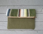 Serape, military canvas clutch, iPad case, large utility pouch -  striped olive recycled Mexican - eco vintage fabrics