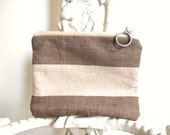 Linen striped canvas utility pouch, cosmetic zipper bag -  eco vintage fabrics