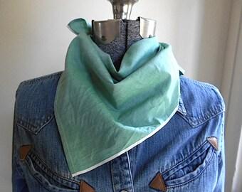 Bandana selvedge chambray, green spruce sun washed - kerchief - eco vintage fabric