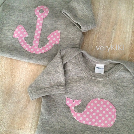 Nautical Baby Girl Clothes Pink and Gray Girls Clothing