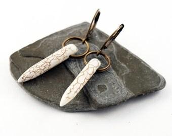 White Howlite Spike Earrings, Tribal Style, Bohemian Style, Natural, Simple Jewelry, Southwestern Dangle Earrings bohemian jewelry boho chic