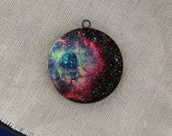 handmade Nebula Outer Space Galaxy round antique bronze locket 32mm (LD153)