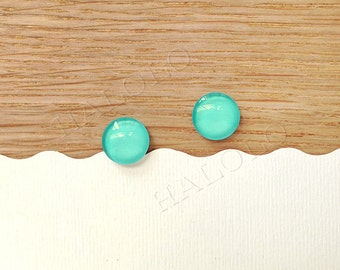 Sale - 10 pcs handmade teal color glass cabochons 12mm (12-91240)