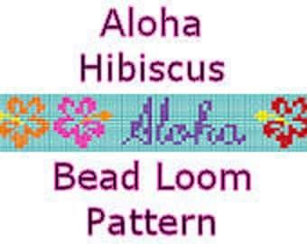 Bead Loom Pattern Aloha Hibiscus Tropical Hawaiian Cruise Digital File PDF