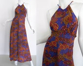 Vintage Maxi Dress | Cute Psychedelic Floral Print 70s 1970s Retro Fashion Halter Long Dress