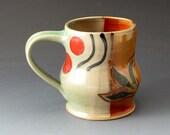 Handmade Ceramic Cup, Coffee Mug, Celadon and Shino, Pottery Mug, Drinkware, Beverage, Mugs