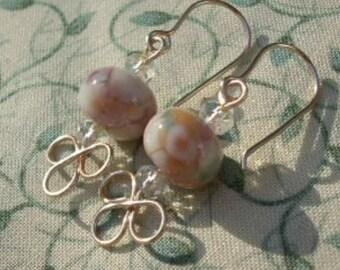 Artisan Lampwork Glass Rose Gold Wire Work Earrings
