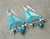 Triangle Turquoise and Silver Peyote Stitched, Geometric, Bead Woven Handmade Earrings, Sterling Silver