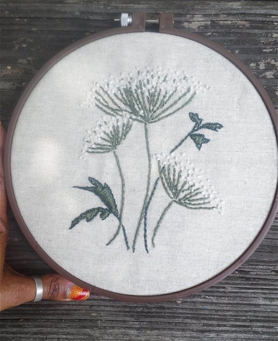 Embroidery hoop queen anne s lace flowers on by