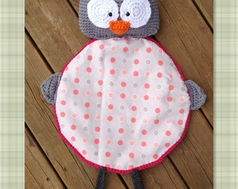 PDF Crochet Pattern- Hoot the Owl Blanket Buddy - Flannel/Crochet - Easy and Fun to make - Beginners to Intermediate