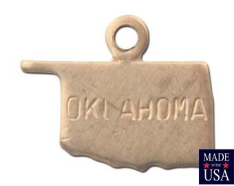 Raw Brass Tiny Oklahoma State Charm Drops (2) chr202X