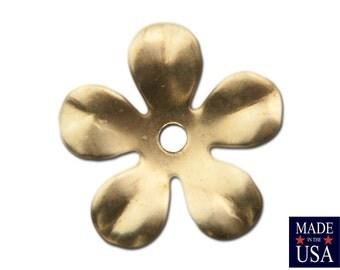 Raw Brass Slightly Cupped Flower Bead Cap 14mm (8) mtl263B