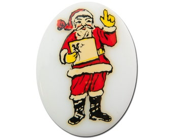 Vintage Glass Santa Claus Cabochon Germany 40x30mm (1) cab001F