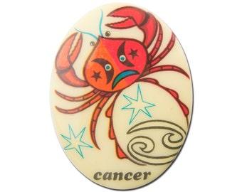 Vintage Retro Zodiac Cancer Cabochon 40x30mm (1) cab474C