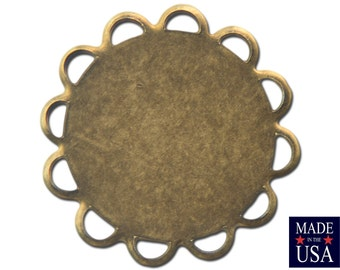 Brass Ox Lace Edge Round Flat Pad Settings 13mm (12) stn030T