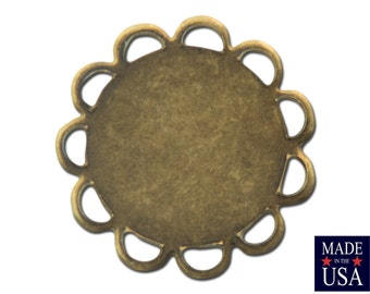 Brass Ox Lace Edge Round Flat Pad Settings 11mm (12) stn030Y