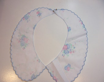 Collar Applique, White with Blue and Pink Roses Applique Collar, Set of 2 Pieces