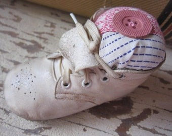 Baby Shoe Pincushion, Makedo, Primitive Pincushion, Primitive, Pinkeep,  Pink, Upcycled, Sewing, tin cup, Shabby, Cottage Chic, ofg team