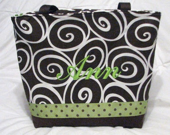Personalized Tote Diaper Bag . Weekender/XL size . Brown Ironwork and Lime Green  .  girl or boy diaper bag . gender neutral