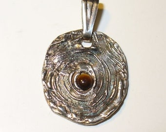 GenuineTiger Eye Quartz Gem in Fine Silver Pendant ~ Natural Mined from Earth Gemstone in Handmade Silver Pendant SALE Priced