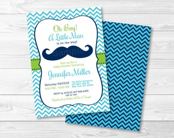 Little Man Mustache Baby Shower Invitation / Oh Boy / Chevron / Aqua, Lime Green, Navy Blue / PRINTABLE