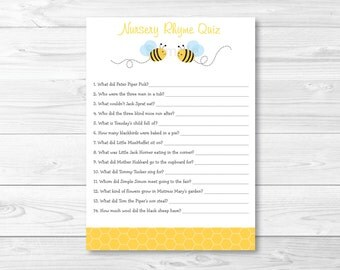 Cute Bumble Bee Nursery Rhyme Quiz Baby Shower